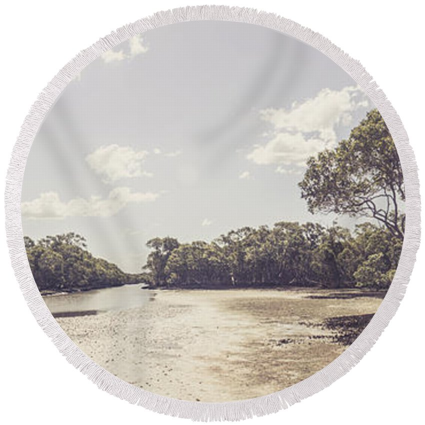 Estuary Round Beach Towel featuring the photograph Antique Mangrove Landscape by Jorgo Photography - Wall Art Gallery