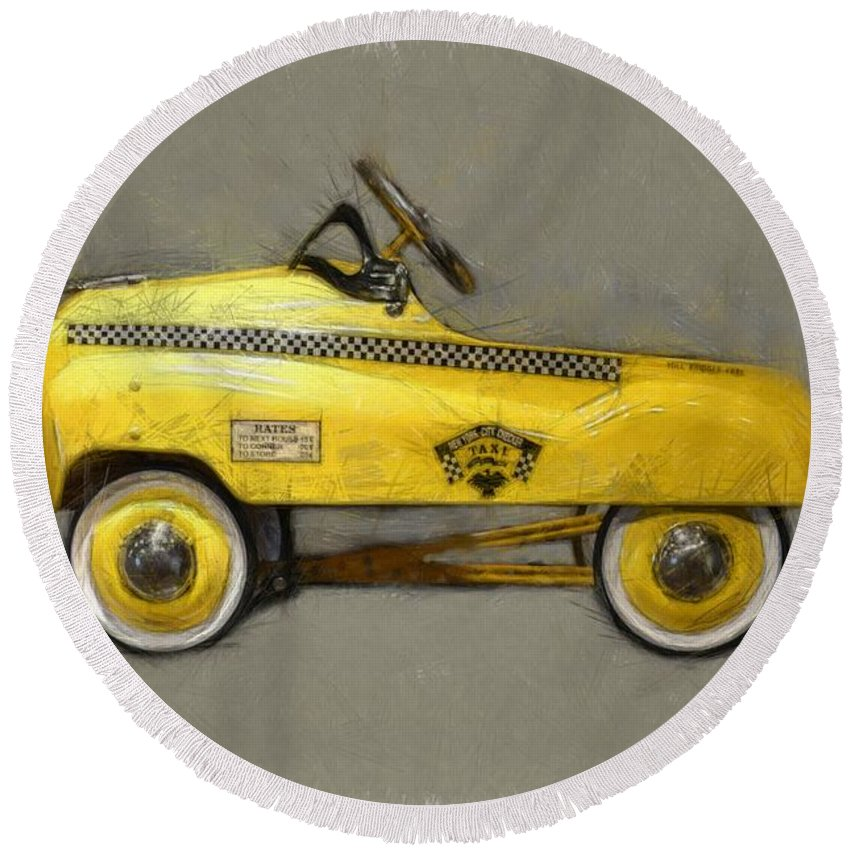 Yellow Cab Round Beach Towel featuring the photograph Antique Pedal Car Lll by Michelle Calkins