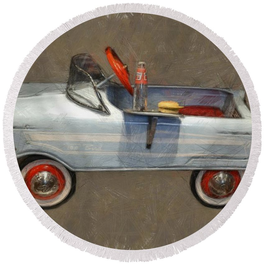 Pedal Car Round Beach Towel featuring the photograph Antique Pedal Car Lv by Michelle Calkins