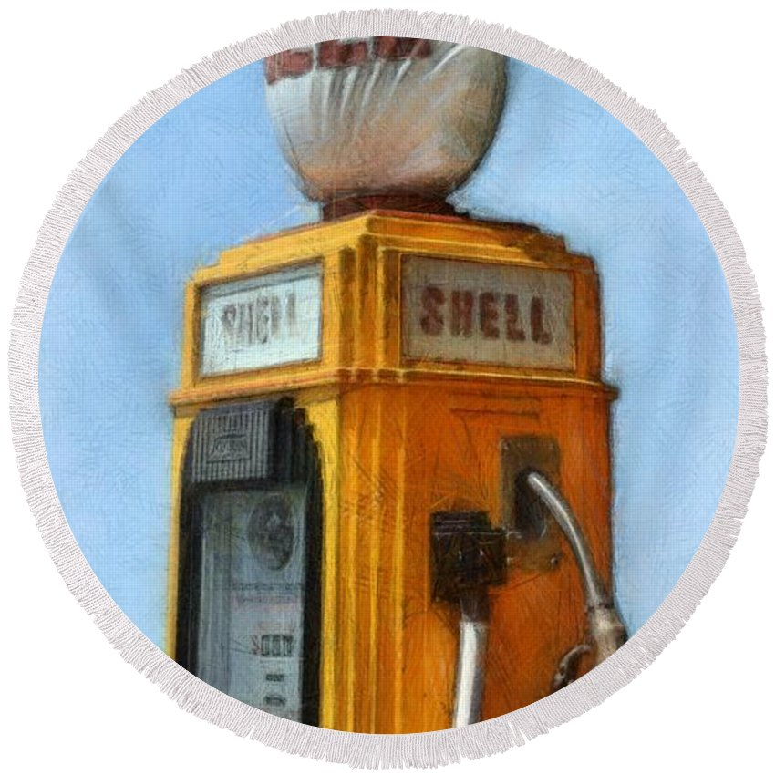 Nostalgia Round Beach Towel featuring the photograph Antique Shell Gas Pump by Michelle Calkins