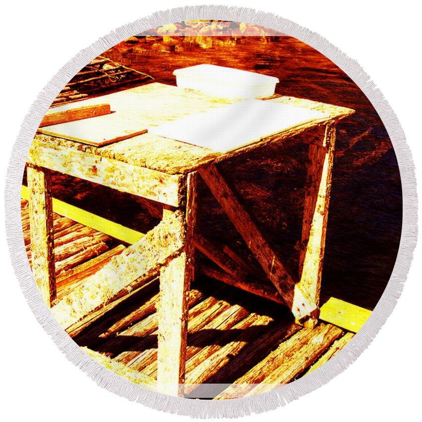 Antique Splitting Table Round Beach Towel featuring the photograph Antique Splitting Table 2 by Barbara Griffin