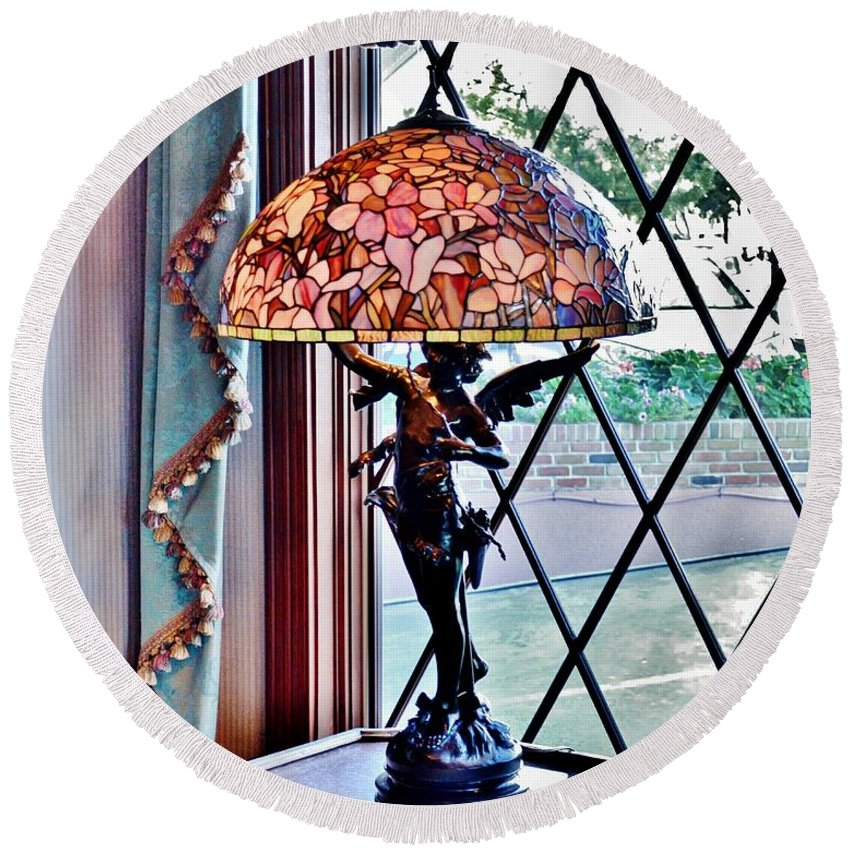 Antique Round Beach Towel featuring the photograph Antique Victorian Lamp At The Boardwalk Plaza - Rehoboth Beach Delaware by Kim Bemis
