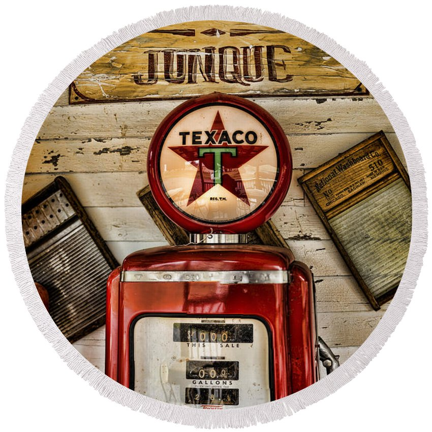 Gas Pump Round Beach Towel featuring the photograph Antiques And Junque by Heather Applegate