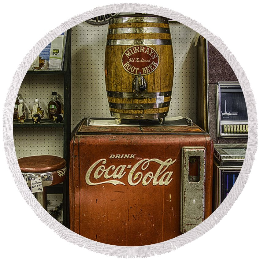 Murray's Round Beach Towel featuring the photograph Antiques - Murray's Root Beer And Coca Cola by Betty Denise