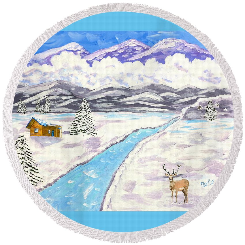 High Mountains Round Beach Towel featuring the painting Antlers And Snow by Phyllis Kaltenbach