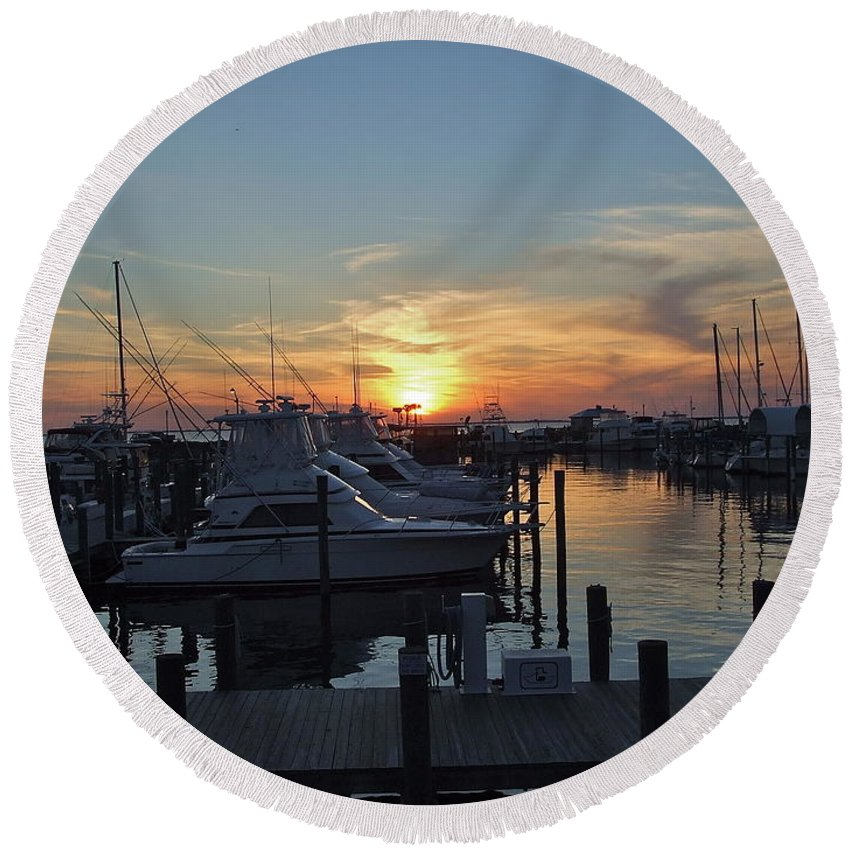Boats Round Beach Towel featuring the photograph Apalachicola Marina At Sunset by Susan Wyman