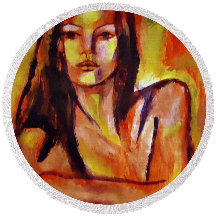 Art Round Beach Towel featuring the painting Aphrodite Re-born by Helena Wierzbicki