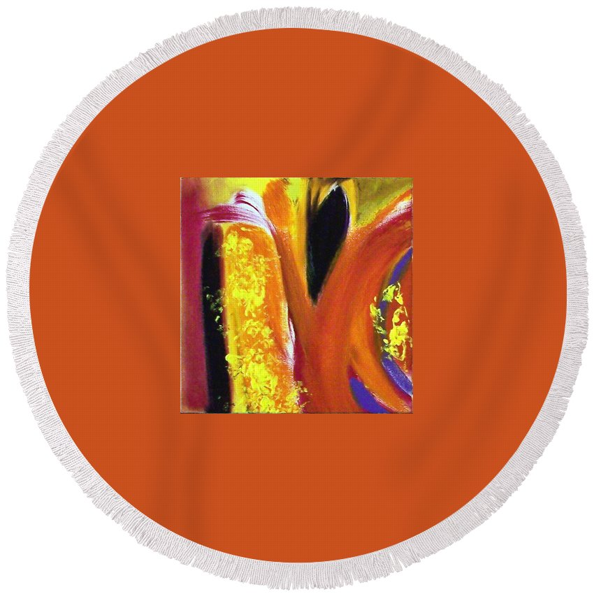 Abstract Round Beach Towel featuring the painting Aphrodite Dances Seduction by Nova Cynthia Barker