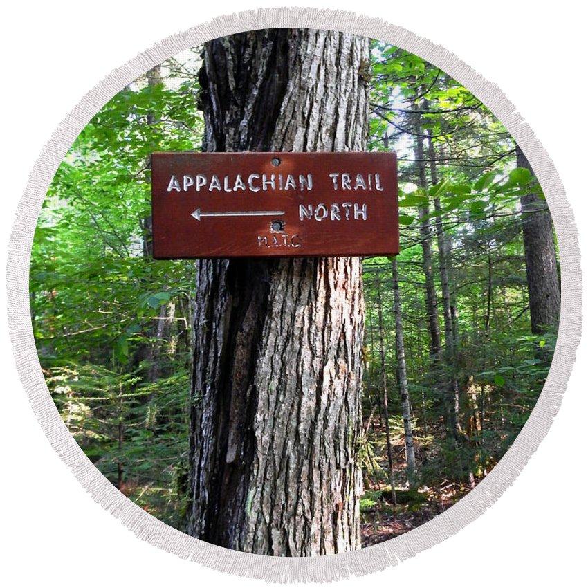 Appalachian Trail Round Beach Towel featuring the photograph Appalachian Trail Sign North by Glenn Gordon