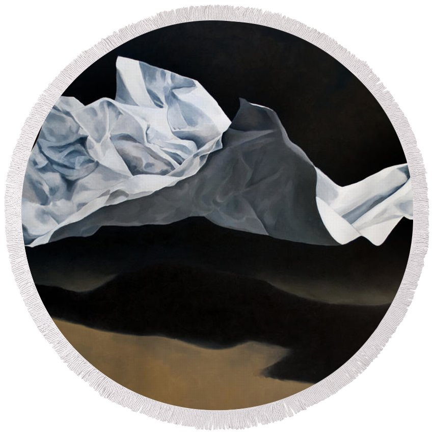 Oil Paintings Round Beach Towel featuring the painting Phantom by Anthony Enyedy