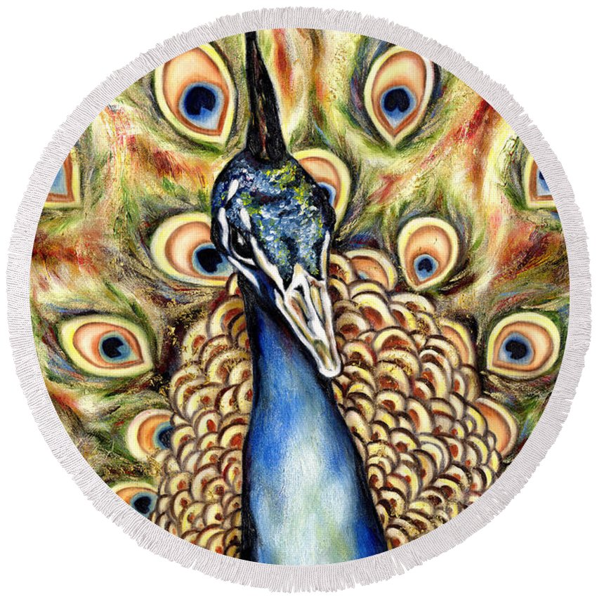 Bird Round Beach Towel featuring the painting Applause by Hiroko Sakai