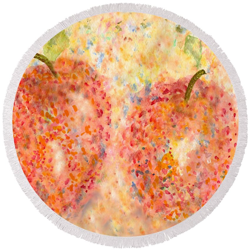 Watercolor Round Beach Towel featuring the painting Apple Twins by Paula Ayers