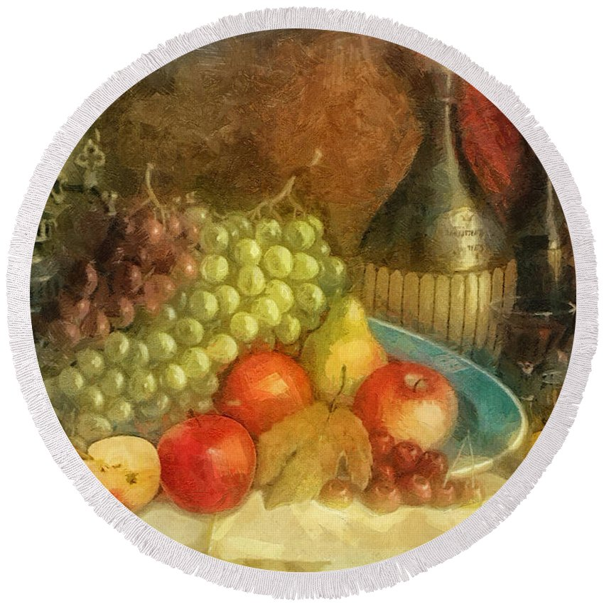 Apples And Grapes Round Beach Towel featuring the painting Apples And Grapes by Mo T