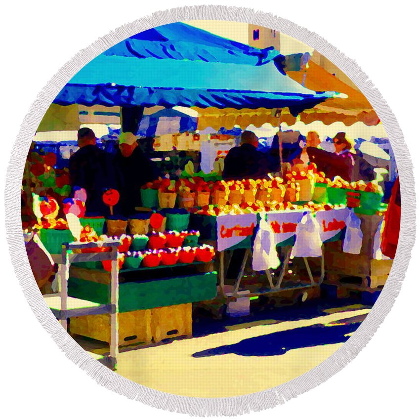 Markets Round Beach Towel featuring the painting Apples Cortlands Lobos Honey Crisps Mcintosh Atwater Market Apple Fruit Stall Foodart Carole Spandau by Carole Spandau