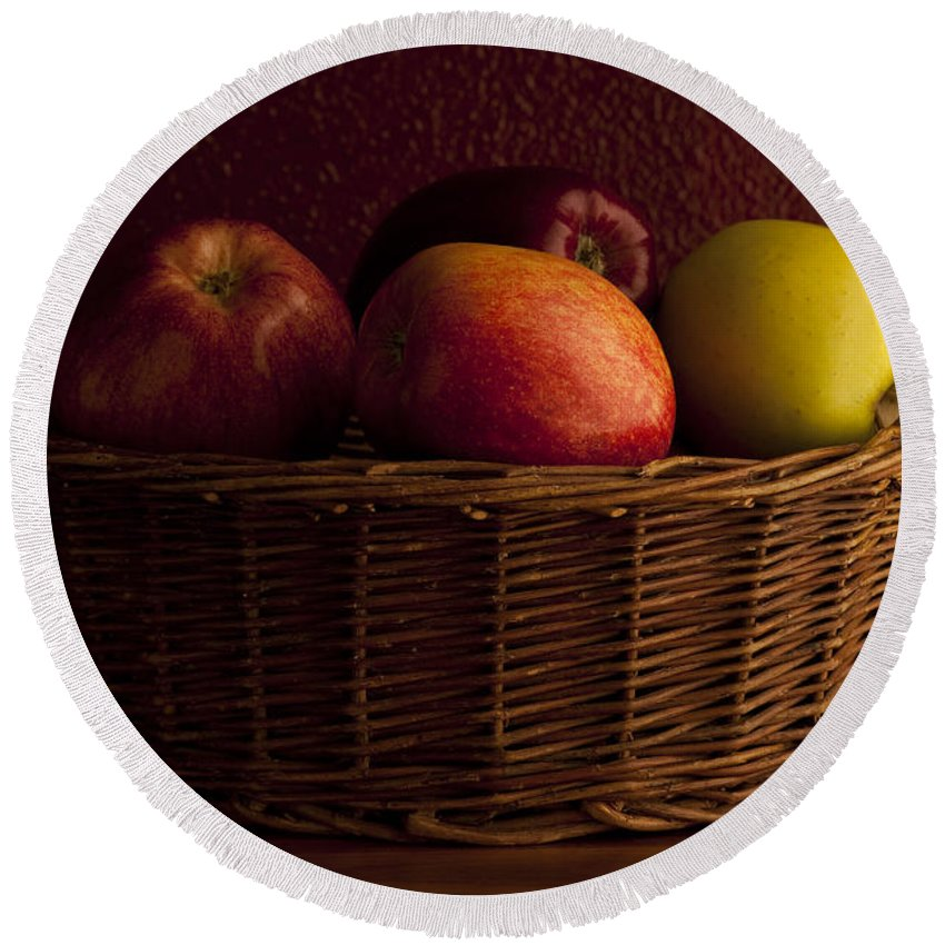 Apple Round Beach Towel featuring the photograph Apples In Basket by Jim Corwin