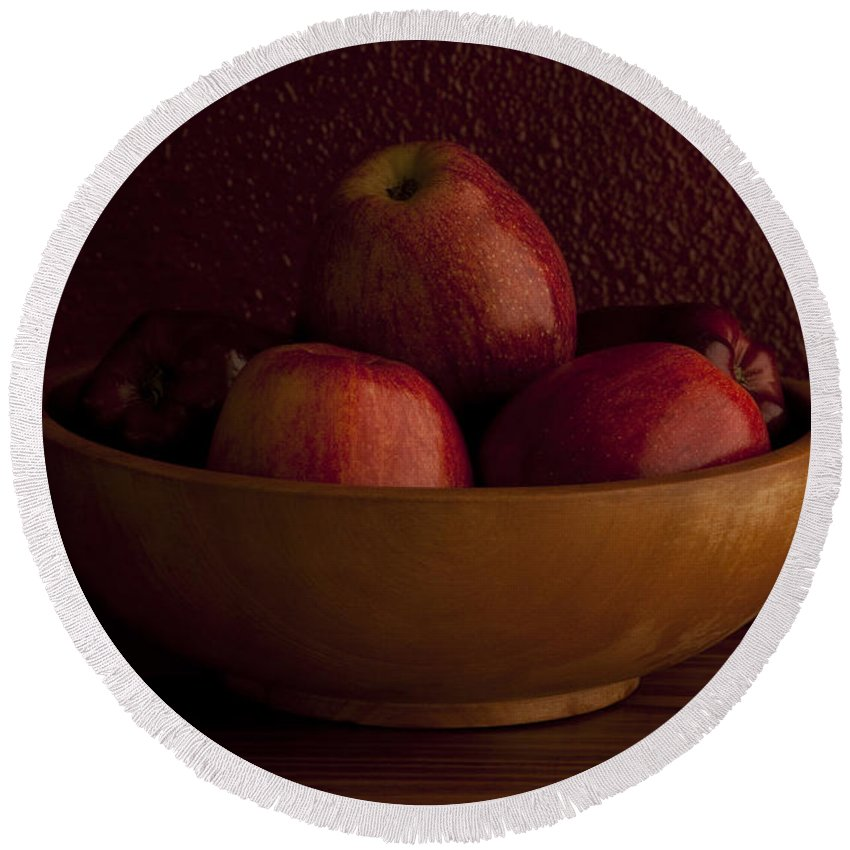 Apple Round Beach Towel featuring the photograph Apples In Bowl Still Life by Jim Corwin