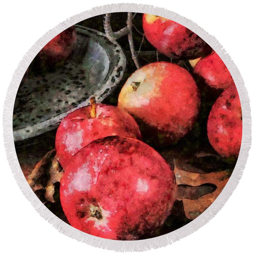 Apples Round Beach Towel featuring the photograph Apples Still Life Cezanne Style by Edward Fielding