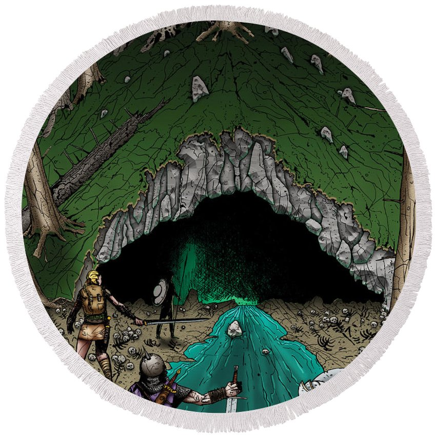 Usherwood Round Beach Towel featuring the digital art Approach To The Kobold Caves by James Kramer