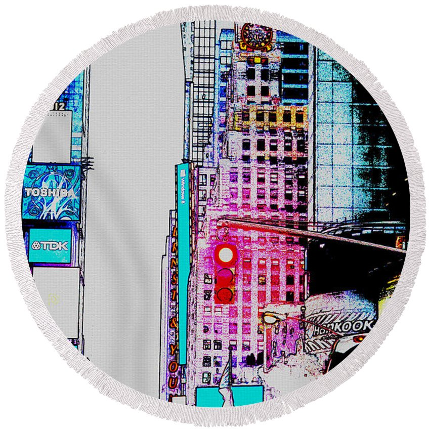 Digital Art Round Beach Towel featuring the digital art Approaching Times Square by Teresa Mucha