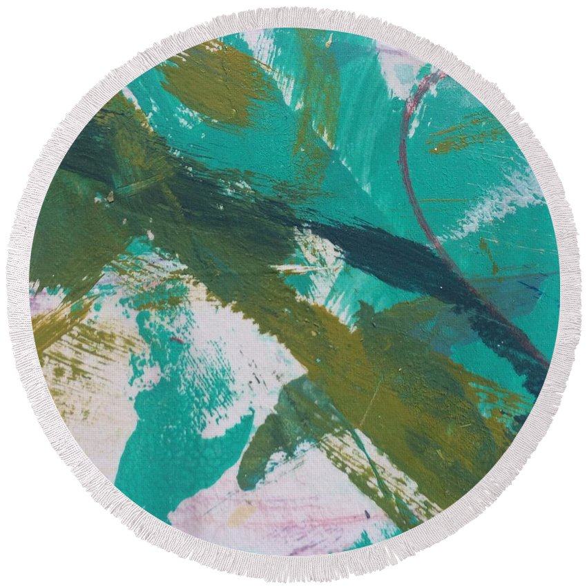 Aqua Round Beach Towel featuring the painting Aqua And Green by Robin Maria Pedrero