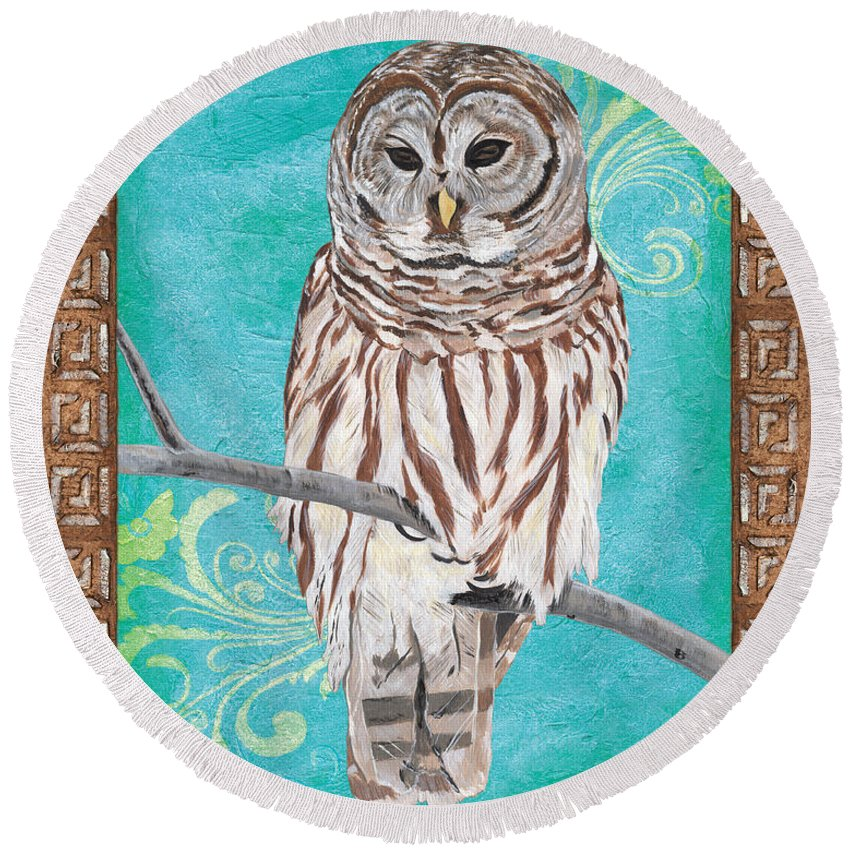 Owl Round Beach Towel featuring the painting Aqua Barred Owl by Debbie DeWitt