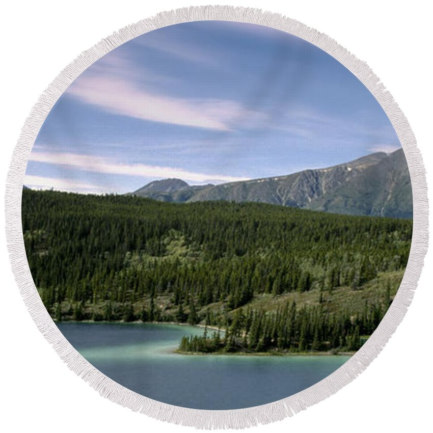 Americas Round Beach Towel featuring the photograph Aqua Green Mountain Lake by Roderick Bley