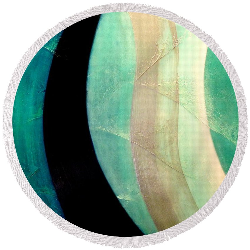 Aqua.ocean.light.energy White Round Beach Towel featuring the painting Blue Moon by Kumiko Mayer