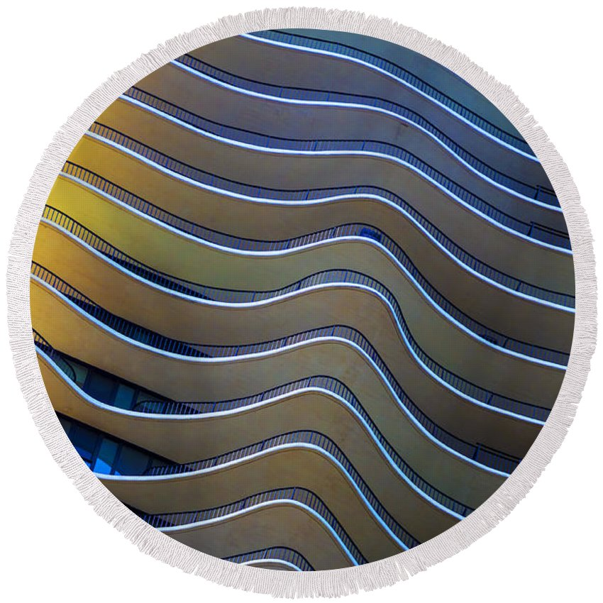 Abstract; Building; Architecture; Aqua; Chicago; Illinois; United States; America; United States Of America; Usa; Us; Windy City; Skyscraper; Balconies; Building; View; Reflection; Blue; Yellow; Color; Colorful; Bright; Saturated; Primary; Gold; Glowing Round Beach Towel featuring the photograph Aqua by Margie Hurwich