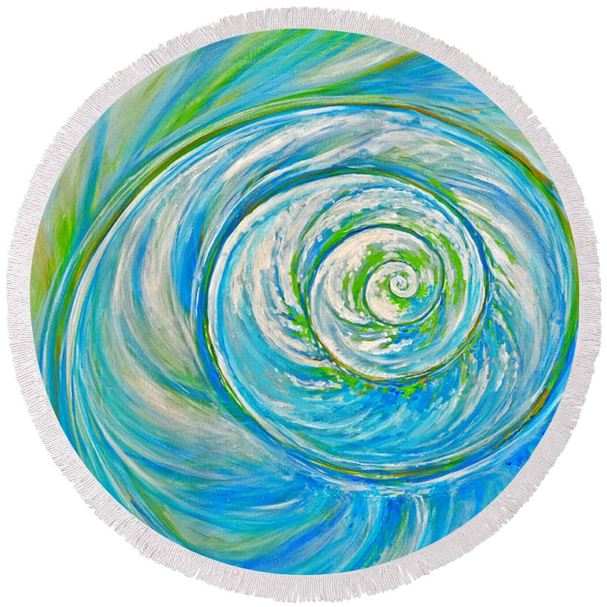 Blue Round Beach Towel featuring the painting Aqua Seashell by Paola Correa de Albury