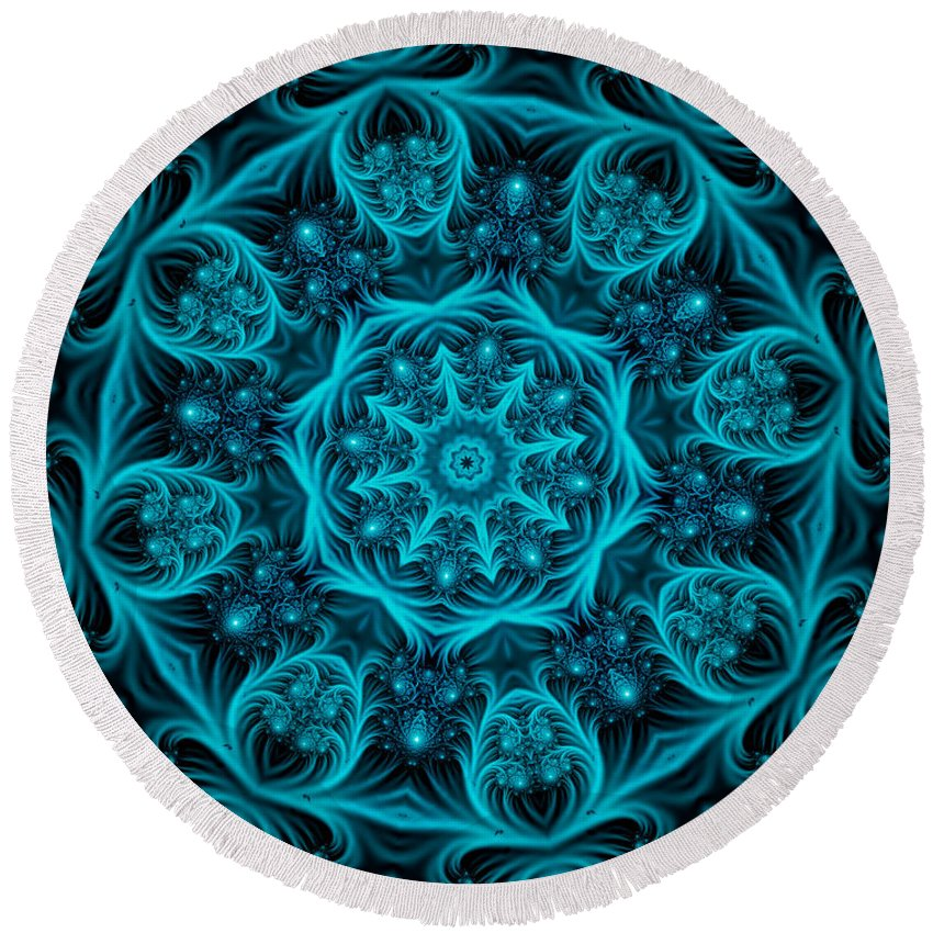 Aquamarine Round Beach Towel featuring the digital art Aquamarine by Kimberly Hansen