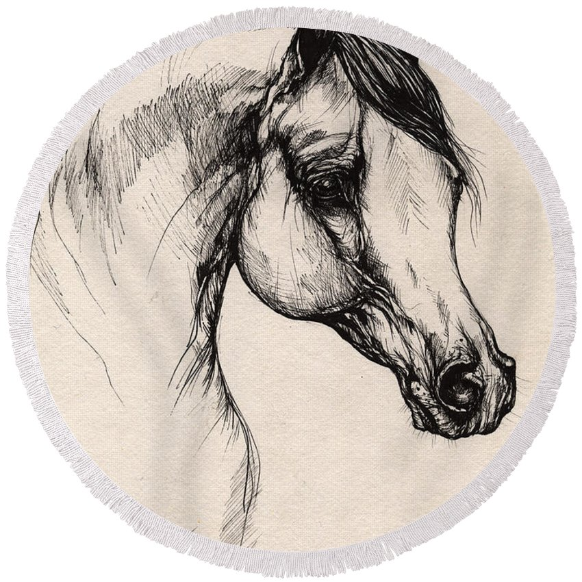 Horse Round Beach Towel featuring the drawing Arabian Horse Drawing 24 by Angel Tarantella