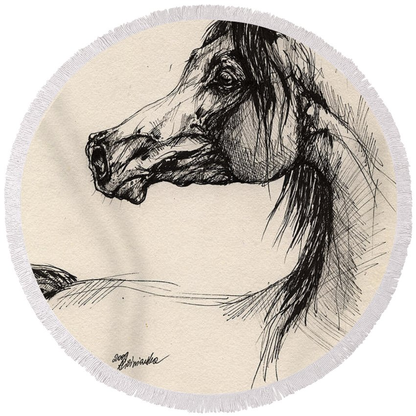 Horse Drawing Round Beach Towel featuring the drawing Arabian Horse Drawing 26 by Angel Ciesniarska