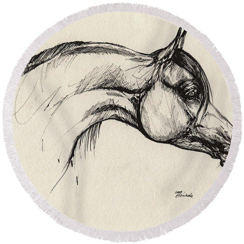 Horse Round Beach Towel featuring the drawing Arabian Horse Drawing 30 by Angel Ciesniarska