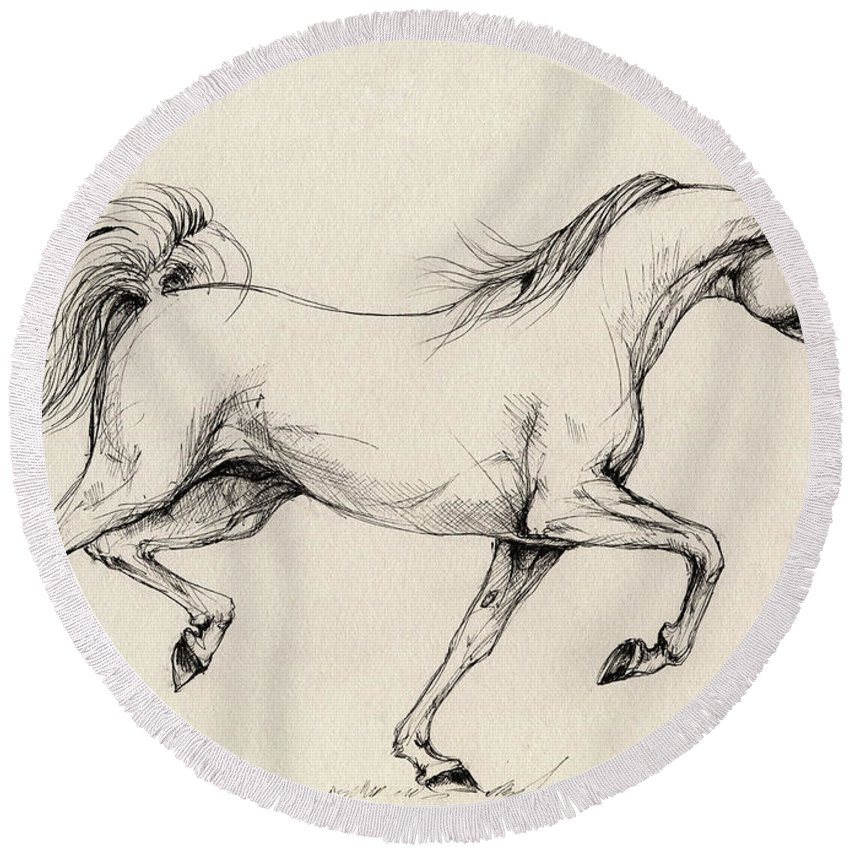 Grey Round Beach Towel featuring the drawing Arabian Horse Drawing 31 by Angel Ciesniarska