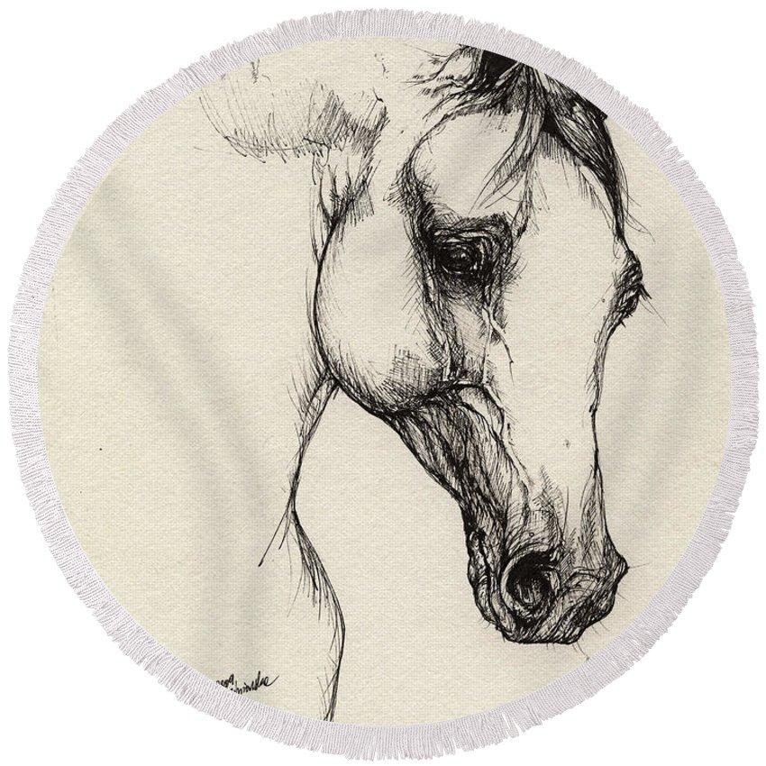 Horse Round Beach Towel featuring the drawing Arabian Horse Drawing 32 by Angel Ciesniarska