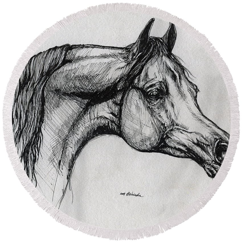 Horse Round Beach Towel featuring the drawing Arabian Horse Drawing 40 by Angel Ciesniarska