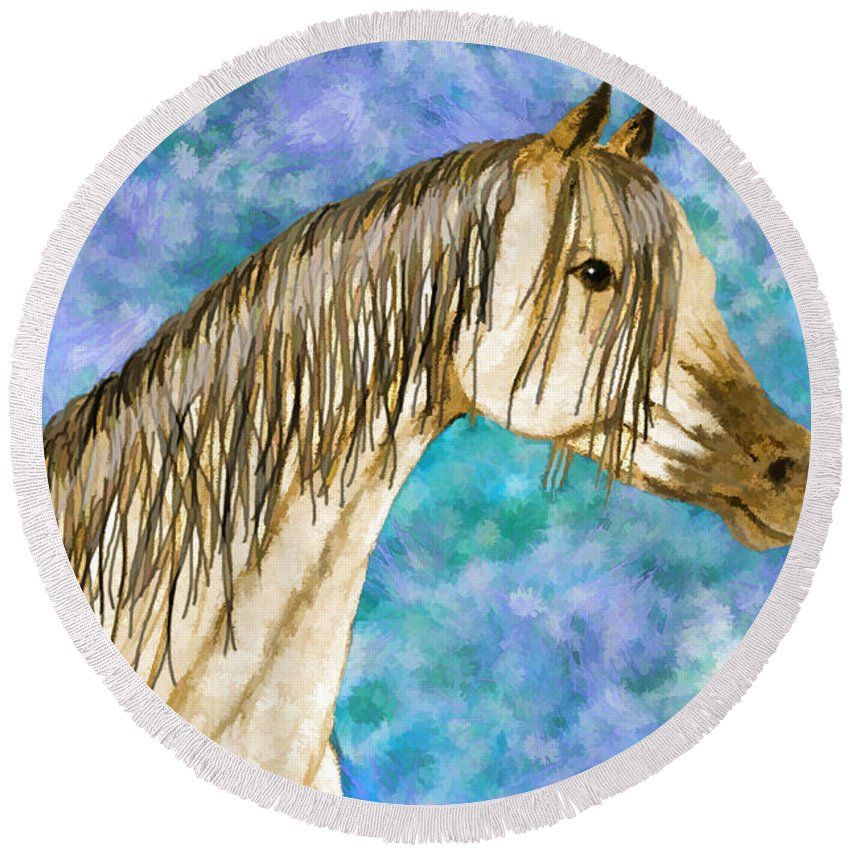 Nature Round Beach Towel featuring the drawing Arabian Sketch Digital Effect by Debbie Portwood