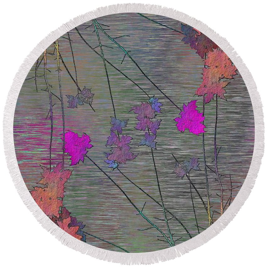Tree Round Beach Towel featuring the digital art Arbor Autumn Harmony 5 by Tim Allen