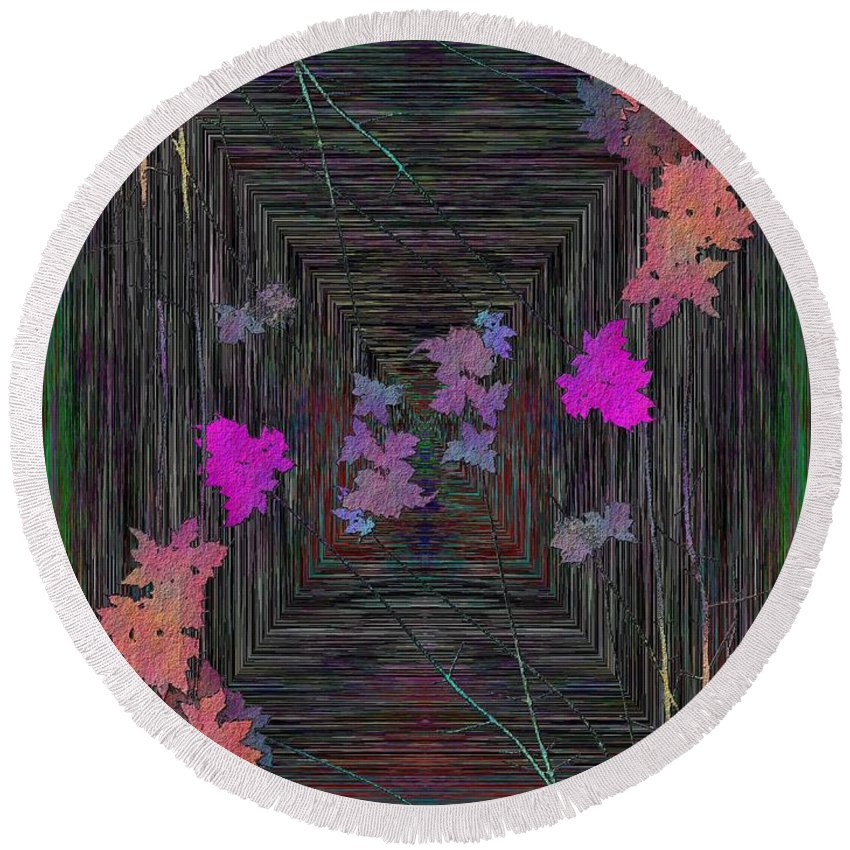 Tree Round Beach Towel featuring the digital art Arbor Autumn Harmony 6 by Tim Allen
