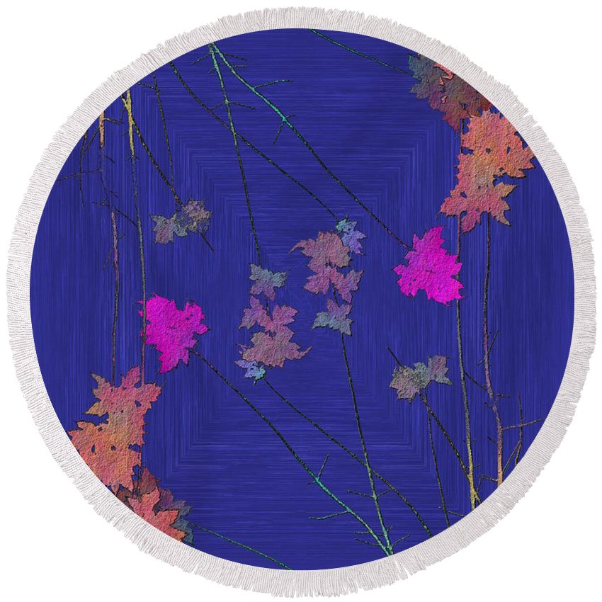 Tree Round Beach Towel featuring the digital art Arbor Autumn Harmony 9 by Tim Allen