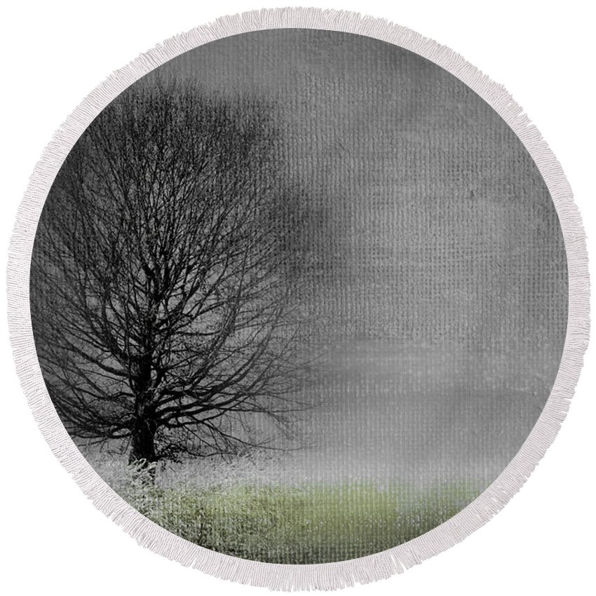 Tree Round Beach Towel featuring the photograph Arbrensens - V06gr by Variance Collections