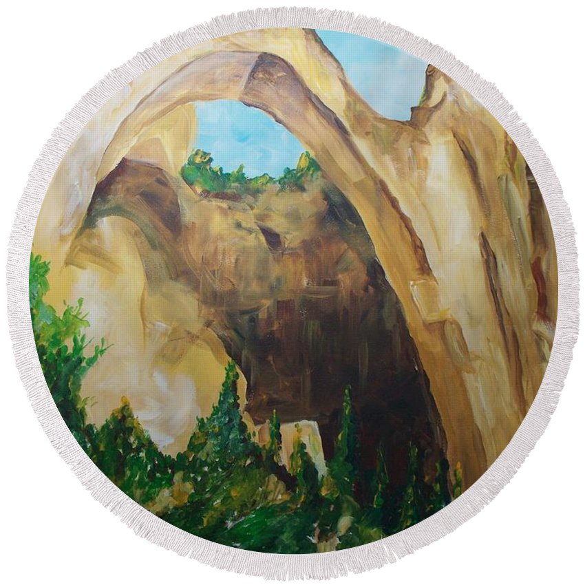 Floral Round Beach Towel featuring the painting Arch by Eric Schiabor