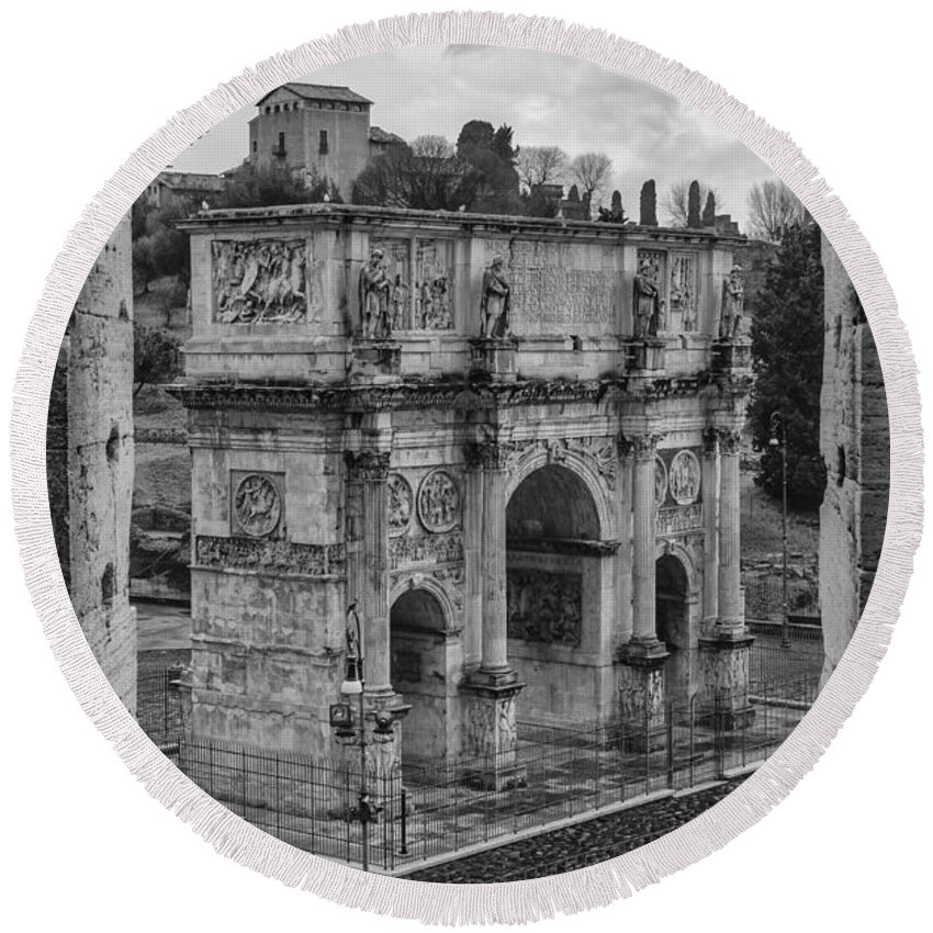 Arch Round Beach Towel featuring the photograph Arch Of Constantine by Pablo Lopez