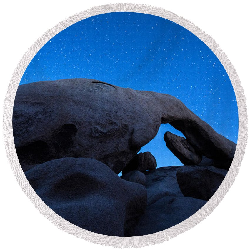 America Round Beach Towel featuring the photograph Arch Rock Starry Night 2 by Stephen Stookey