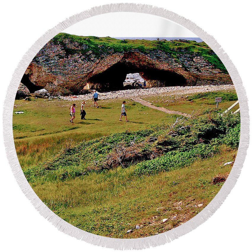 Arches On West Coast Round Beach Towel featuring the photograph Arches On West Coast-nl by Ruth Hager