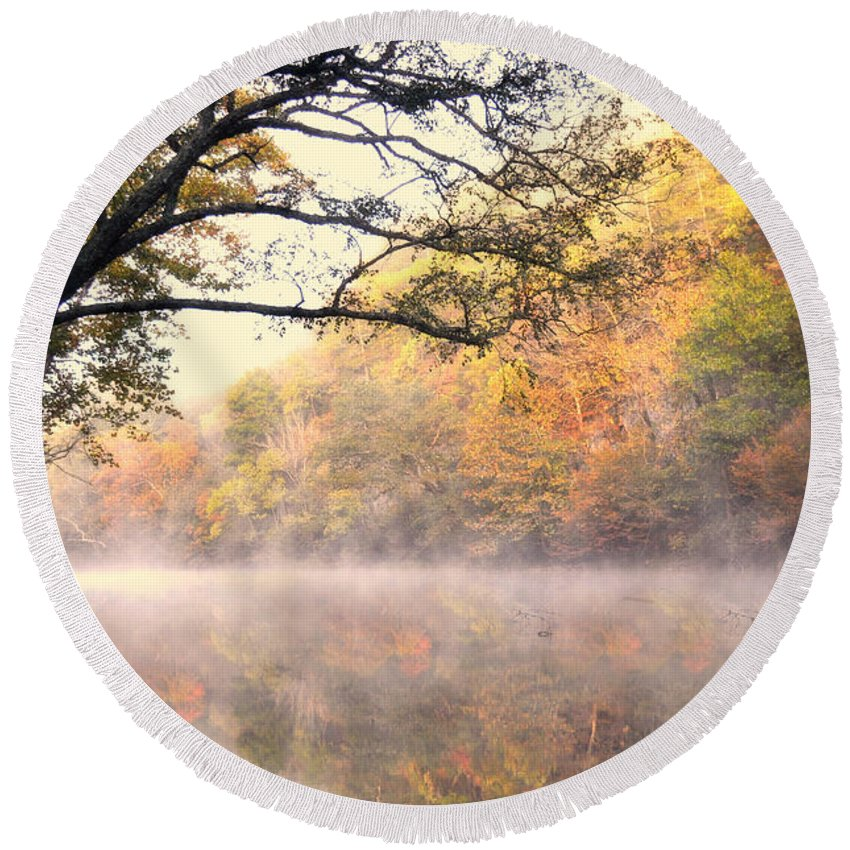 Fall Round Beach Towel featuring the photograph Arching Tree On The Current River by Marty Koch