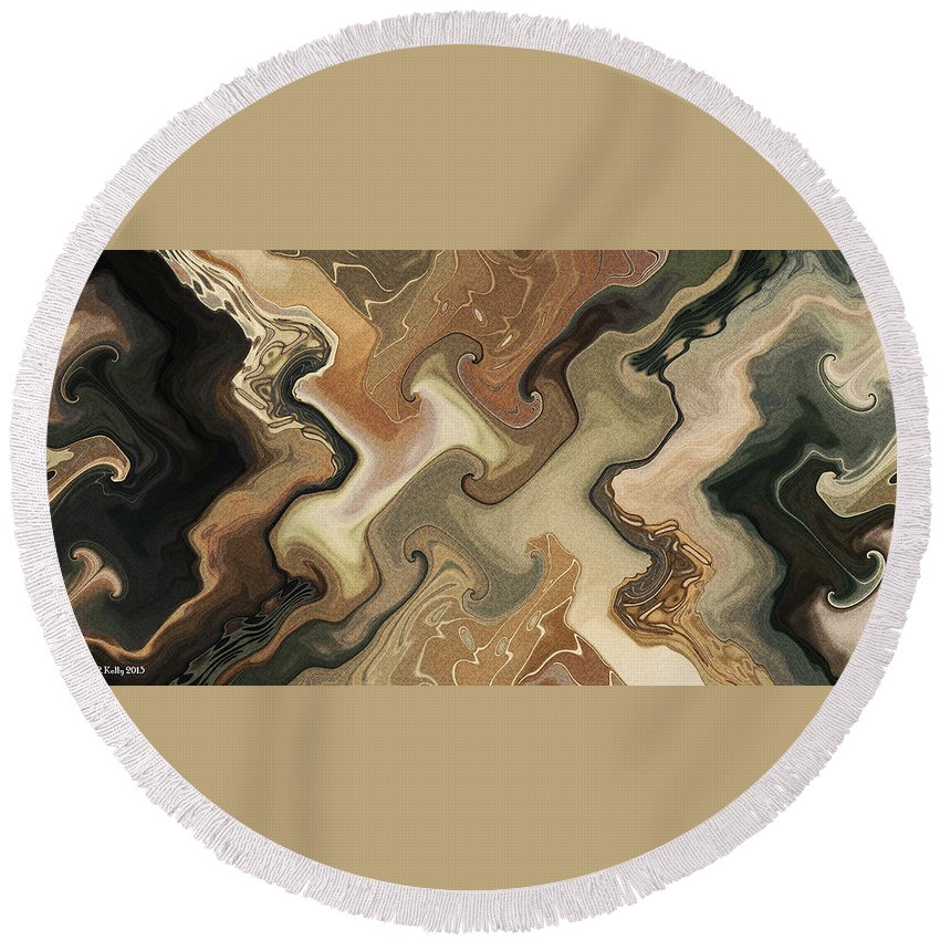 Abstract Round Beach Towel featuring the digital art Architechtonic Analysis Of Cortex Detail by Richard Kelly
