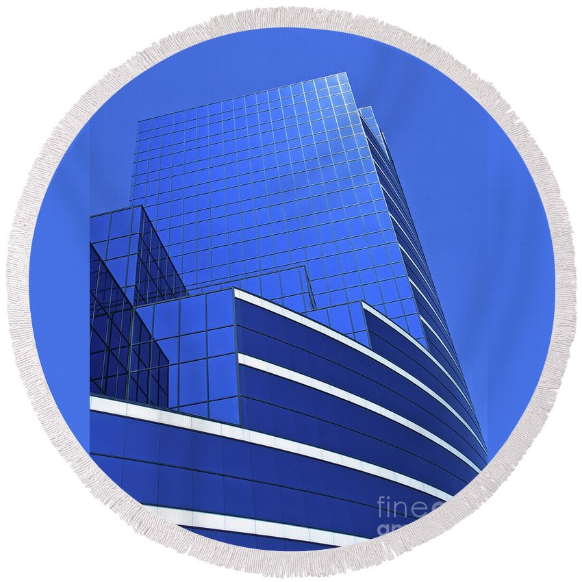 Architecture Round Beach Towel featuring the photograph Architectural Blues by Ann Horn