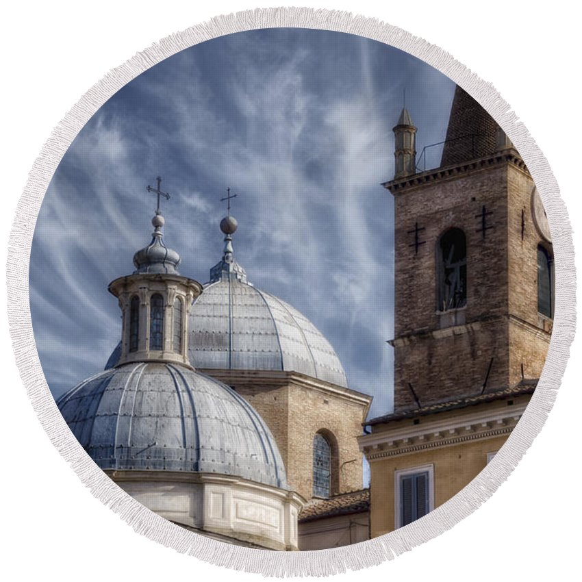 Aerial Round Beach Towel featuring the photograph Architecture Del Popolo by Joan Carroll