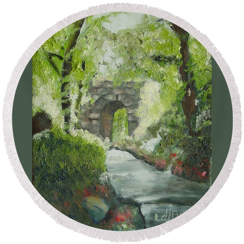 New York Round Beach Towel featuring the painting Archway In Central Park by Laurie Morgan
